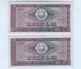 Bancnota Romania 10 lei 1966-aunc-unc,lot de doua bucati-serii consecutive