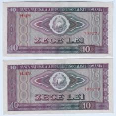 Bancnota Romania 10 lei 1966-aunc-unc, lot de doua bucati-serii consecutive - Bancnota romaneasca