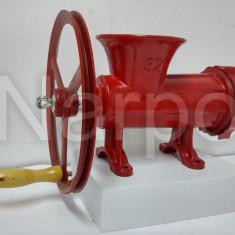 Masina de tocat carne nr 32 fonta manuala Rosie cu roata si rulment
