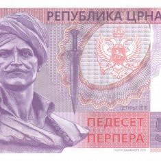Bancnota Muntenegru 50 Perpera 2016 - SPECIMEN ( proba pe hartie cu filigran ) - bancnota europa