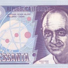 Bancnota Italia 60 Lire 2016 - SPECIMEN ( Enrico Fermi - hartie cu filigran )