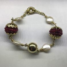Bratara Aur 18k +Rubine si Perle Naturale, lucrata Manual, Noua ! - Set bijuterii aur