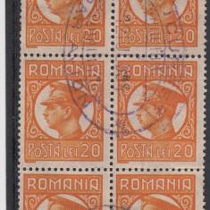 ROMANIA 1931, CAROL II UZUALE PTT 20 LEI BLOC DE 6 STAMPILAT PAR AVION - Timbre Romania