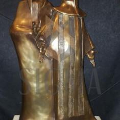 SCULPTURA JEAN ( IOAN ) PARVAN, PERECHE DE ARLECHINI, bronz