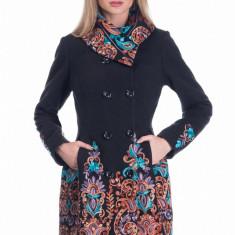 Palton in Clos cu Imprimeu Floral Anushka - Palton dama Raspberry, Marime: 42, 40, 38, 36