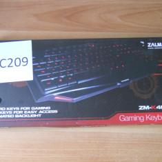 Tastatura Gaming Zalman ZM-K400G., Cu fir, USB, Tastatura iluminata