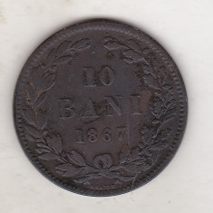 Bnk mnd Romania 10 bani 1867 Heaton - Moneda Romania