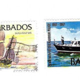 BARBADOS, lot 2 buc., vapoare - Timbre straine, Stampilat