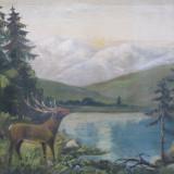 Peisaj de munte cu cerb langa lac, ulei pe panza - Pictor roman, Animale, Realism