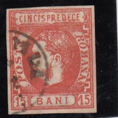 ROMANIA 1869, CAROL I CU FAVORITI VALOAREA 15 BANI ROSU STAMPILAT - Timbre Romania