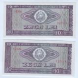 Bancnota Romania 10 lei 1966-aunc-unc,lot de doua bucati-serii consecutive.