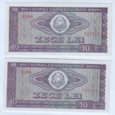 Bancnota Romania 10 lei 1966-aunc-unc, lot de doua bucati-serii consecutive. - Bancnota romaneasca