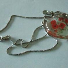 Lant argint cu pandantiv cu maci - 566 - Lantisor argint