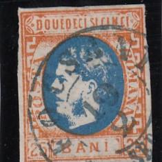 ROMANIA 1869 LP 28 MI 24 CAROL I CU FAVORITI VAL. 25 BANI PORTOC/ALBASTRU STAMP - Timbre Romania, Stampilat