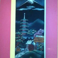 Tablou rol kakemono serigrafie pe panza, anii 50, Japonia - Arta din Asia