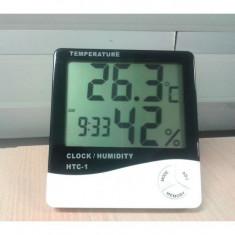 Ceas cu termometru si aparat de masura a umiditatii digital, cu ecran LCD mare