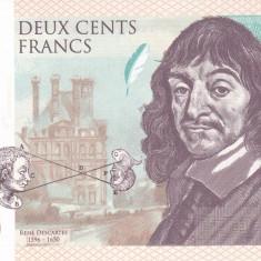 Bancnota Franta 200 Franci 2015 - SPECIMEN ( Descartes - hartie cu filigran ) - bancnota europa