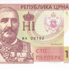 Bancnota Muntenegru 100 Perpera 2015 - SPECIMEN ( proba pe hartie cu filigran ) - bancnota europa