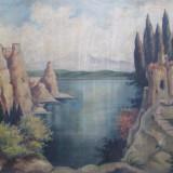 Peisaj de munte cu lac si ruine, ulei pe panza - Pictor roman, Peisaje, Realism