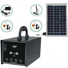 Sistem alimentare portabila cu panou solar si acumulator 12V 7Ah