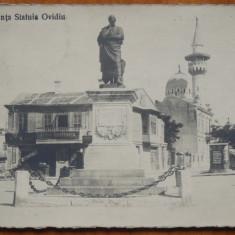 Constanta, Piata Ovidiu ; Minaretul, inceput de sec. 20, necirculata, animata - Carte Postala Dobrogea pana la 1904, Fotografie