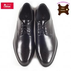 Pantofi barbati piele naturala RIEKER B2610-00 negru (Marime: 46) - Pantof barbat