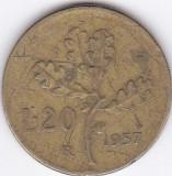 Moneda Italia 20 Lire 1957 - KM#97.1 Fine, Europa