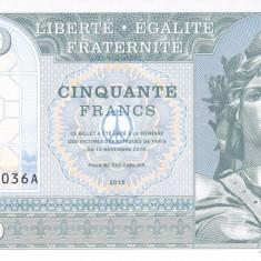 Bancnota Franta 50 Franci 2015 - SPECIMEN ( proba v.1 pe hartie cu filigran )