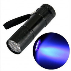 Mini 9 LED Aluminium UV Ultra Violet Flashlight purple light - Lanterna