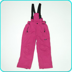 CALITATE _ Pantaloni salopeta, GROSI, impermeabili _ fete | 6-7 ani | 116-122 cm, Marime: Alta, Culoare: Fuchsia