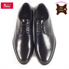 Pantofi barbati piele naturala RIEKER B2610-00 negru (Marime: 45) - Pantof barbat