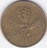 Moneda Italia 20 Lire 1958 - KM#97.1 XF, Europa