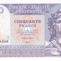Bancnota Franta 50 Franci 2015 - SPECIMEN ( proba v.2 pe hartie cu filigran )
