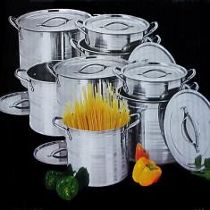 Set oale inox India 8 piese Stock Pot - oala, cratita