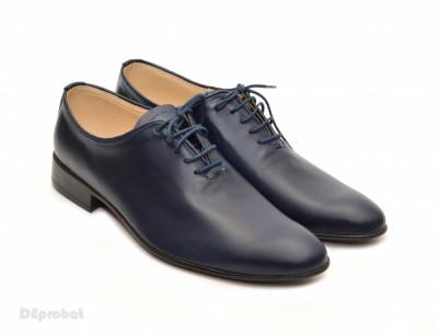 Pantofi barbati piele naturala bleumarin casual-eleganti cod P65 - Editie de LUX foto