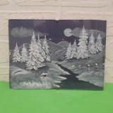 PEISAJ de IARNA, mica PICTURA pe STICLA, semnata Guje / tablou - Pictor strain, Peisaje, Ulei, Miniatural