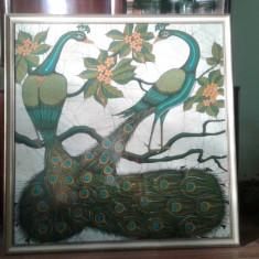 Tablou vechi mare pictura pe panza Pauni arta Asia - Tablou autor neidentificat, Animale, Acrilic, Art Deco