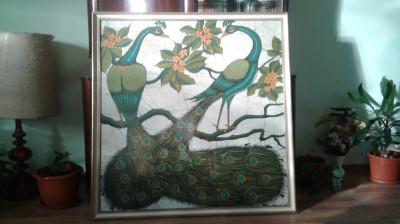 Tablou vechi mare pictura pe panza Pauni arta Asia foto