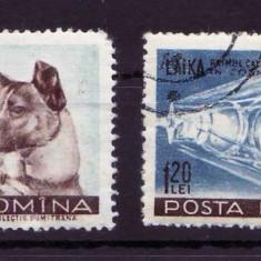 Ro 1957, Catelusa Laika primul calator in Cosmos, LP 447, stampilate - Timbre Romania