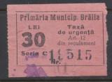 RFL ROMANIA anii 1930 Braila timbru fiscal local de 30 lei uzat