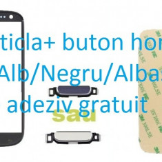Ecran Geam Sticla Samsung Galaxy S3 negru +buton home+adeziv - Geam carcasa