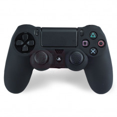 Set NEGRU Husa Silicon + Thumbgrip pt Controller PS4 - PlayStation 4