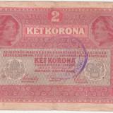 (2) BANCNOTA 2 CORONA 1 MARTIE 1917 - STAMPILA TORONTAL-VARMEDYE - Bancnota romaneasca