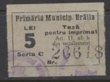 RFL anii 1930 ROMANIA Braila timbru fiscal municipal de 5 lei uzat, Stampilat