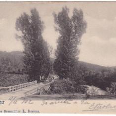 Romania, Resita, carte postala. circulata 1902: Detaliu, pod - Carte Postala Banat pana la 1904, Fotografie
