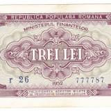 Bancnota 3 lei 1952 VF serie albastra - Bancnota romaneasca