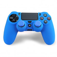 Set ALBASTRU Husa Silicon + Thumbgrip pt Controller PS4 - PlayStation 4