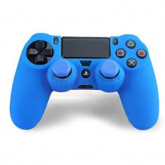 Set ALBASTRU Husa Silicon + Thumbgrip pt Controller PS4 - PlayStation 4