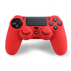 Set ROSU Husa Silicon + Thumbgrip pt Controller PS4 - PlayStation 4