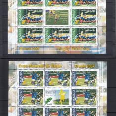 ROMANIA 2007, LP 1784 b, RUGBY MINICOALA 8 TIMBRE + VINIETA MNH - Timbre Romania, Nestampilat